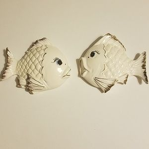 Vintage 70s Chalkware White Fish Wall Plaques